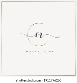 VR Initial Letter handwriting logo hand drawn template vector, logo for beauty, cosmetics, wedding, fashion and business