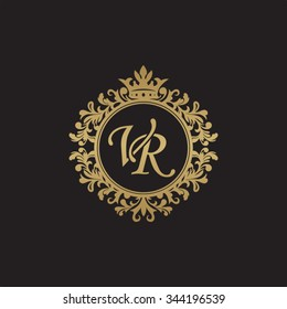 VR initial luxury ornament monogram logo