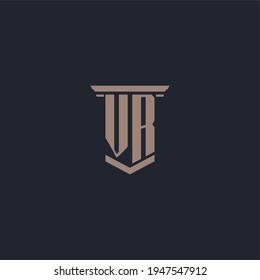 VR initial monogram logo with pillar style design