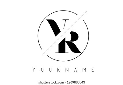 VR Letter Logo with Cutted and Intersected Design and Round Frame Vector Illustration