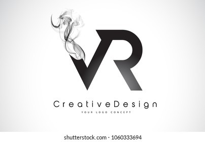 VR Letter Logo Design with Black Smoke. Creative Modern Smoke Letters Vector Icon Logo Illustration.