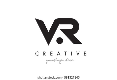 VR Letter Logo Design with Creative Modern Trendy Typography and Black Colors.