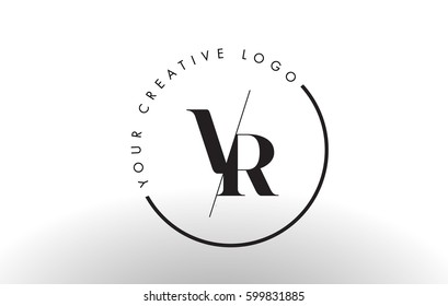 VR Letter Logo Design with Creative Intersected and Cutted Serif Font.