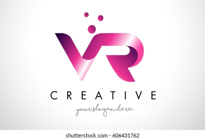VR Letter Logo Design Template with Purple Colors and Dots