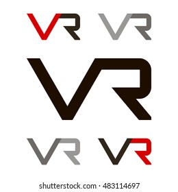 VR letter logo icon.VR initial company linked letter logo illustration. Virtual reality vector icon.