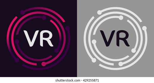 VR letters business logo icon design template elements in abstract background logo, design identity in circle, alphabet letter