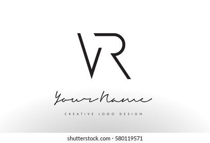 VR Letters Logo Design Slim. Simple and Creative Black Letter Concept Illustration.