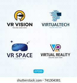 VR logo design template set. Vector virtual reality logotype illustration with electronic 3d glasses headset. Graphic cyber space technology and games device icon symbol. Head mounted display emblem