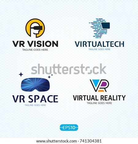 vr logo design template set vector stock vector royalty free
