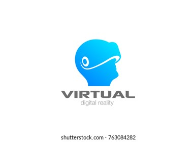 VR Logo design vector template negative space. Man Head with Virtual Reality glasses helmet Logotype icon.