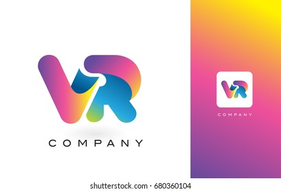VR Logo Letter With Rainbow Vibrant Colors. Colorful Modern Trendy Purple and Magenta Letters Vector Illustration.