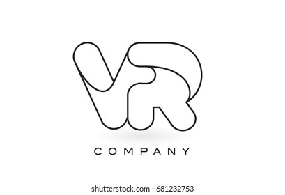 VR Monogram Letter Logo With Thin Black Monogram Outline Contour. Modern Trendy Letter Design Vector Illustration.