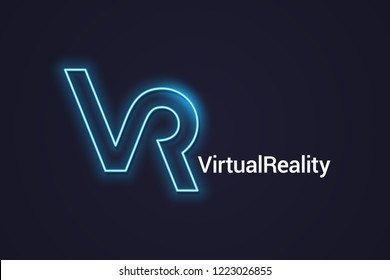 VR neon logo. Virtual Reality neon banner on dark background