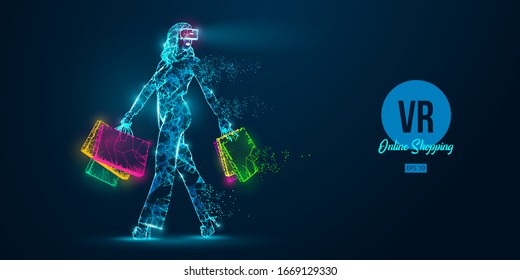 VR online shopping. Polygonal woman, girl wearing virtual reality glasses. Beautiful happy woman is walking with a shopping bags, buy a goods in one click. VR headset holographic wireframe vector