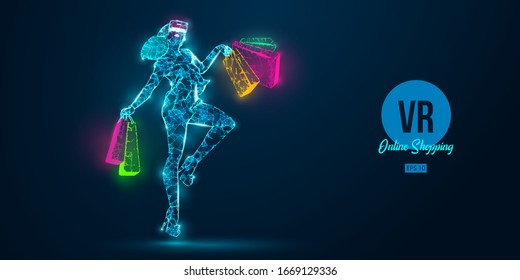 VR online shopping. Polygonal woman, girl wearing virtual reality glasses. Beautiful happy woman is jumping with a shopping bags, buy a goods in one click. VR headset holographic wireframe vector