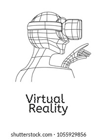 Vr poster. Man in virtual reality headset pointing with his hand in the direction of 3d projection. Linear objects and elements. Profile view of the person. Virtual reality world and simulation.