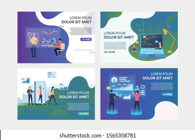 VR product test set. Users in VR headsets analyzing virtual reports, programmers writing codes. Flat vector illustrations. Modern technology concept for banner, website design or landing web page