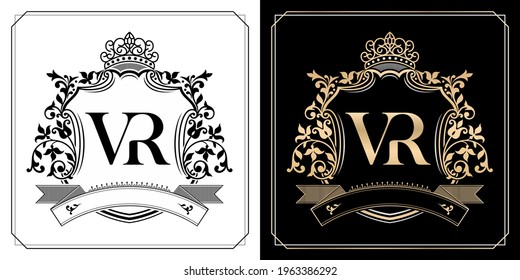 VR royal emblem with crown, initial letter and graphic name Frames Border of floral designs with two variation colors, VR Monogram, for insignia, initial letter frames, wedding couple name