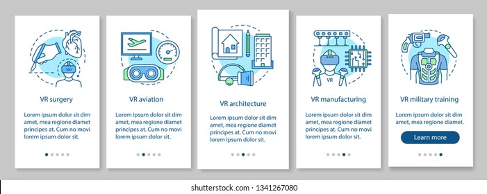 VR technology onboarding mobile app page screen with linear concepts. Virtual surgery, aviation, military, manufacturing walkthrough steps graphic instructions. UX, UI, GUI vector template with icons