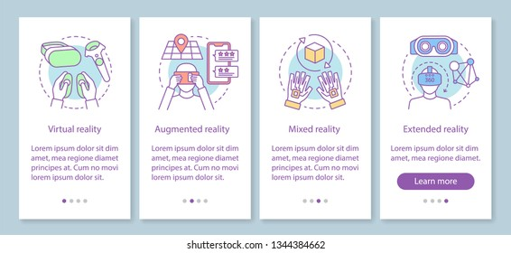 VR technology onboarding mobile app page screen with linear concept. Virtual, augmented, mixed, extended realities walkthrough steps graphic instruction. UX, UI, GUI vector template with illustrations