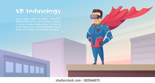 VR technology. Superhero with VR glasses on the roof building. Vector illustration