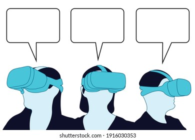 VR users and speech bubbles. Virtual Reality glasses users chatting. VR chat, people chatting and wearing VR glasses. Vector illustration. EPS 10.