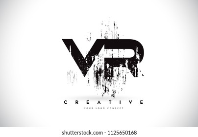 VR V R Grunge Brush Letter Logo Design in Black Colors. Creative Brush Letters Vector Illustration.