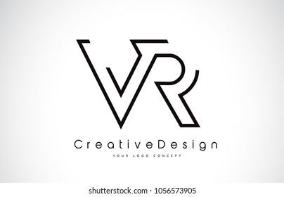 VR V R Letter Logo Design in Black Colors. Creative Modern Letters Vector Icon Logo Illustration.
