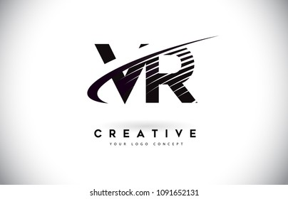 VR V R Letter Logo Design with Swoosh and Black Lines. Modern Creative zebra lines Letters Vector Logo