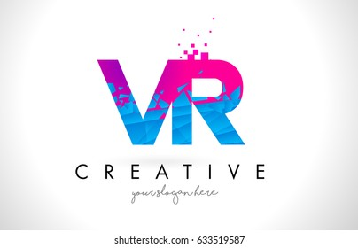 VR V R Letter Logo with Broken Shattered Blue Pink Triangles Texture Design Vector Illustration.
