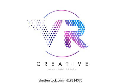 VR V R Pink Magenta Dotted Bubble Letter Logo Design. Dots Lettering Vector Illustration
