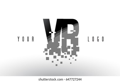 VR V R Pixel Letter Logo with Digital Shattered Black Squares. Creative Letters Vector Illustration.