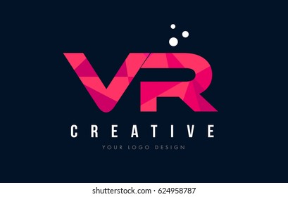 VR V R Purple Letter Logo Design with Low Poly Pink Triangles Concept