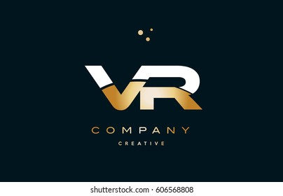 vr v r  white yellow gold golden metal metallic luxury alphabet company letter logo design vector icon template