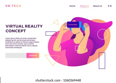 VR virtual reality concept girl augmented glasses landing page vector flat illustration background