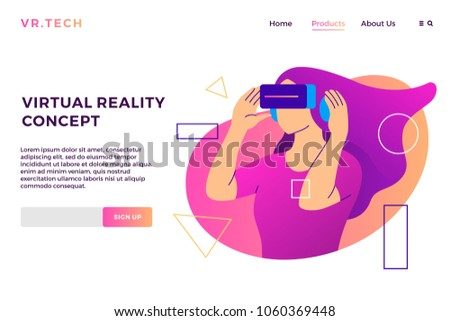 550ffeead0929 VR virtual reality concept girl augmented glasses landing page vector flat  illustration background