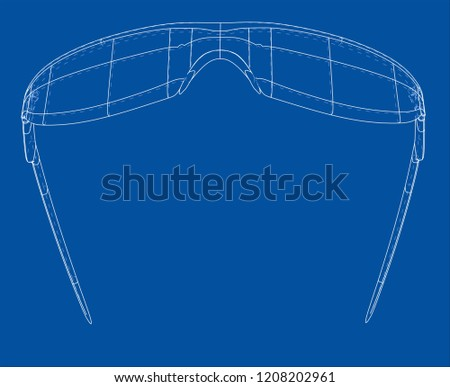 be50cc5c34 VR Virtual Reality Glasses Concept. Vector rendering of 3d. Wire-frame  style.