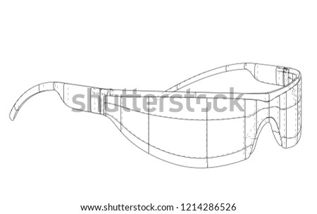 7aa43f8fde VR Virtual Reality Glasses Concept. Vector rendering of 3d. Wire-frame  style.