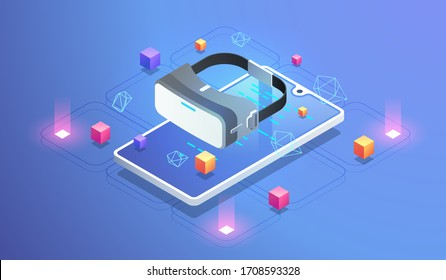 vr virtual reality glasses tools. concept of Virtual Augmented Reality for phone. isometric design illustration