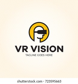 VR Vision logo design template. Vector virtual reality logotype illustration with electronic 3d glasses headset. Graphic cyber space technology and games device icon symbol. Head mounted display emblem