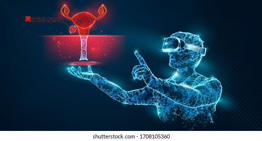 VR wireframe headset. Polygonal man wearing virtual reality glasses, with holographic of woman genitals organ. Science, diagnostics, virtual analytics, analysis. VR games. Thank you for watching