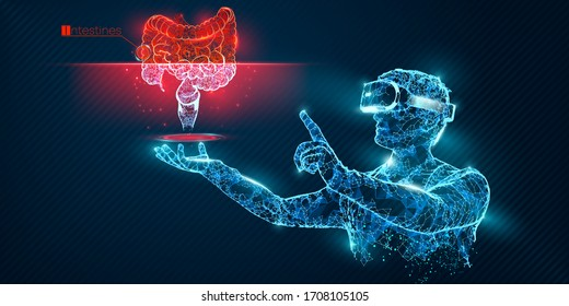 VR wireframe headset vector banner. Polygonal man wearing virtual reality glasses, with holographic of intestine. Science, diagnostics, virtual analytics, analysis. VR games. Thank you for watching