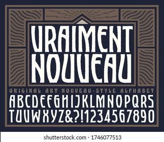 """Vraiment Nouveau is an original art nouveau style alphabet with a stylish graphic frame. Translation: Vraiment Nouveau means """"Truly New."""""""