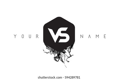 VS Black Ink Letter Logo Design with Rounded Hexagon Vector.
