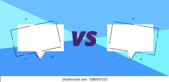 VS card with empty speech bubbles.  Versus screen template. Vector illustration.