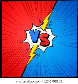 Vs cartoon background. Versus letters comic book frame with halftone. Battle competition mma fighting challenge vector affront concept with lightning