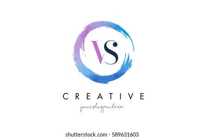 VS Circular Letter Brush Logo. Pink Brush with Splash Concept Design.