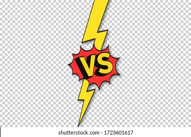 vs comics frame. Versus lightning ray border, fighting duel and fight confrontation . Vs battle challenge, sports team matches conflict isolated cartoon vector background eps 10