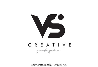 VS Letter Logo Design with Creative Modern Trendy Typography and Black Colors.