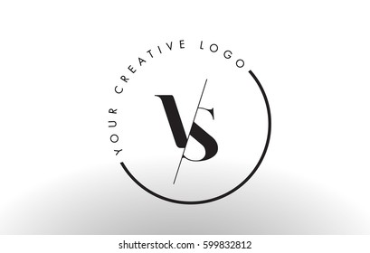 VS Letter Logo Design with Creative Intersected and Cutted Serif Font.